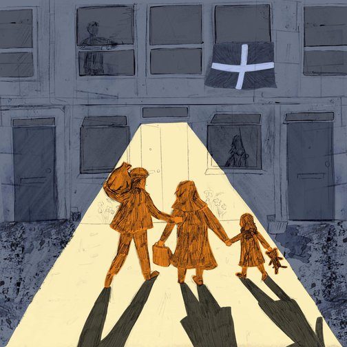 Illustration of a man, woman and child carrying a teddybear. The family walking towards house with an England flag at one window.