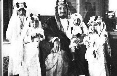 Abdulaziz Al Saud, founder of the Kingdom of Saudi Arabia, with some of his sons.