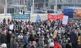 Anti-ACTA demonstration in Tallinn, 2012. Wikimedia commons/Otto de Voogd. Creative commons.