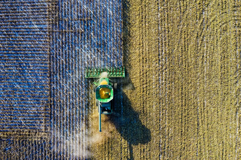 Aerial Shot of Green Milling Tractor