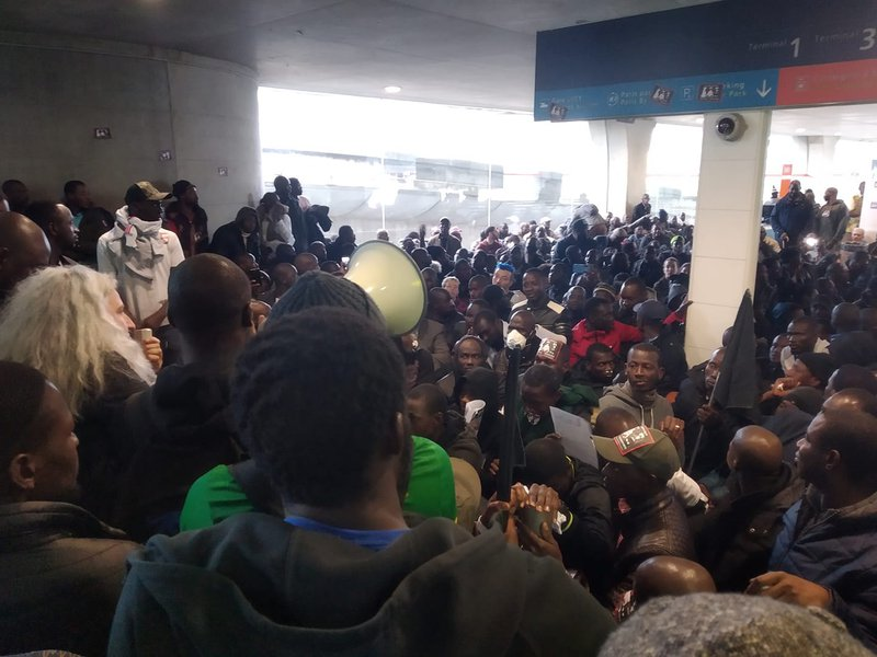 Airport protest.