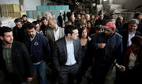 Alexis Tsipras, leader of Syriza, visits a self-managed factory in Thessaloniki, Greece. Demotix/Konstantinos Tsakalidis. All rights reserved.