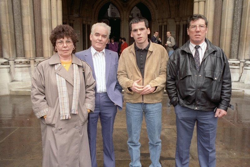 Anne Maguire, her husband Patrick, son Patrick and Sean Smith outside the High Court in London in 1991 for the Maguire Seven retrial.