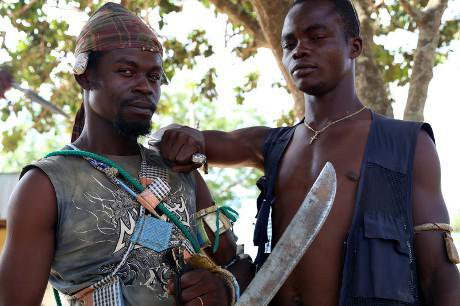 Anti-balaka militiamen with machete