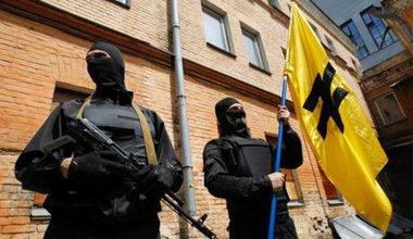 Members of Ukraine's right-wing paramilitary Azov Battalion, currently fighting for the Kyiv government.