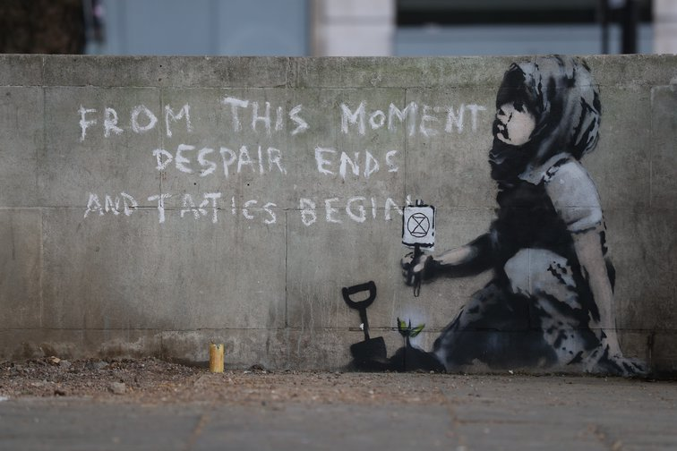 """New Banksy artwork near Marble Arch, London, 29 April 2019 - """"From this moment, despair ends and tactics begin"""""""