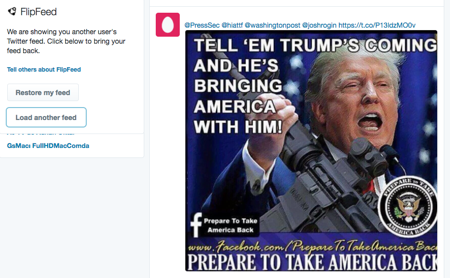 Figure 6: FlipFeed changes a user's newsfeed with another user's from the other political ideology (left or right).