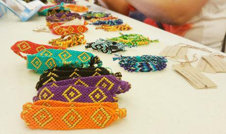 Bracelets made by weavers.