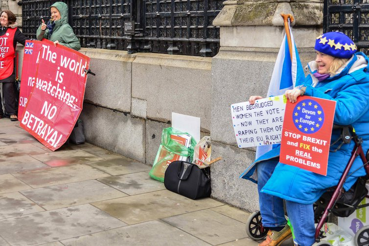 Leave and Remain supporters outside the Houses of Parliament in London,UK on March 14, 2019
