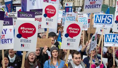 bursaryorbust nurse protest crowd placards.jpg