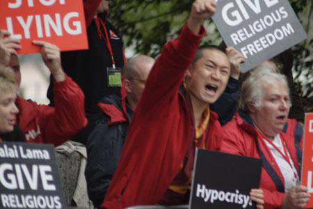 Members of Western Shugden Society Protest against the Dalai Lama in 2008.