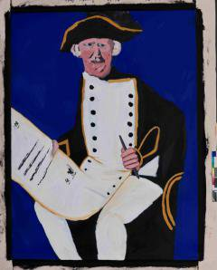 A painting of a man in 18th century naval uniform holding a document
