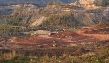 A photo taken by Mining Watch Romania, apparently showing bulldozers in Certejul de Sus clearing the land.