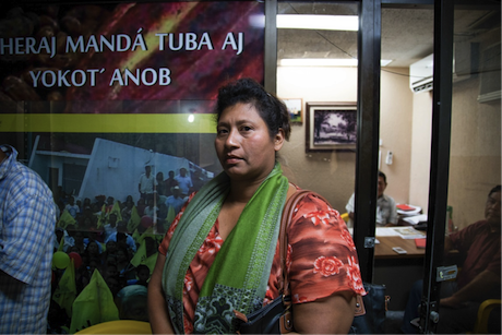 Chontal woman in Tabasco congressional building waits to speak with state representatives about Pemex damage. Author's photo.