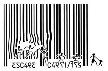 Barcode/stickman cartoon - consumerism escape