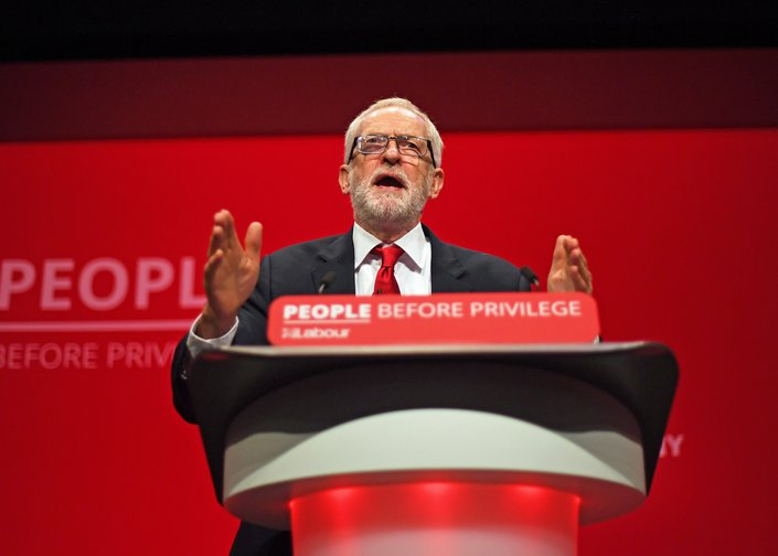 Labour leader Jeremy Corbyn speaking at the 2019 Labour conference, where he announced new policies to tackle high drug prices