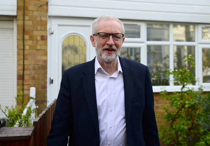 Jeremy Corbyn leaving home on 3 April, on the day he's due to meet Theresa May to discuss Brexit