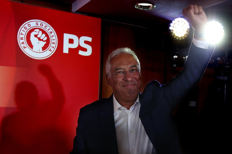 Portugal's Socialist Prime Minster, Antonio Costa, raising his fist in victory after being re-elected on Sunday