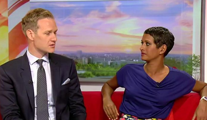 Dan Walker and Naga Munchetty presenting BBC Breakfast on 17 July