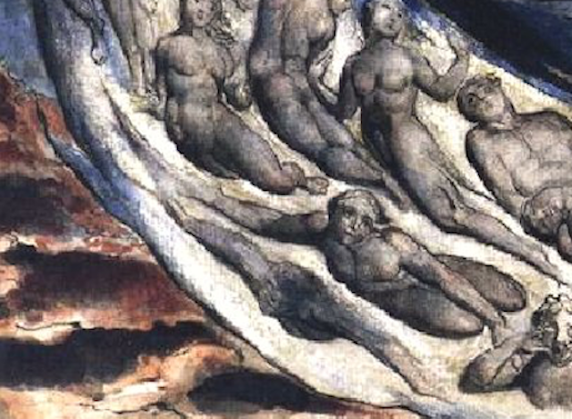 William Blake. Detail from hell, Canto V of Dante's Inferno.