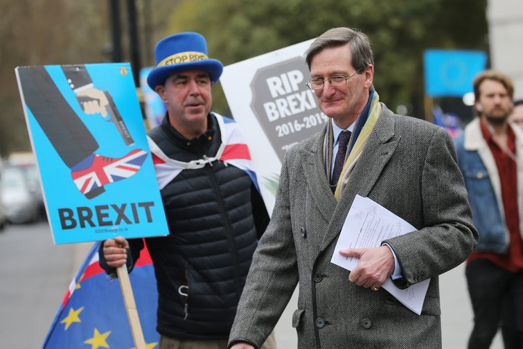Dominic Grieve MP, now facing a deselection battle, here confronted by anti-Brexit campaigner, March 2019