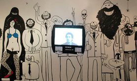 "Egyptian artist Bassem Yousri's wall installation ""Parliament of the Revolution"""