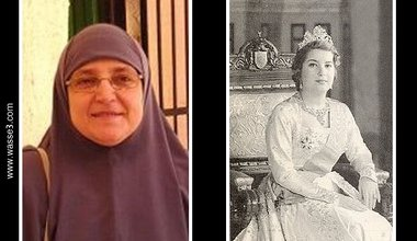 Photo of Um Ahmad next to photo of Queen Nariman