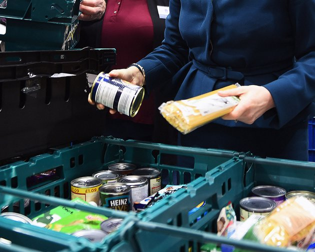 Goods at a food bank, UK 2018