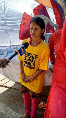 Girl on climate march in Delhi interviewed