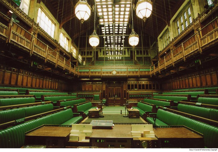 Empty House of Commons green benches
