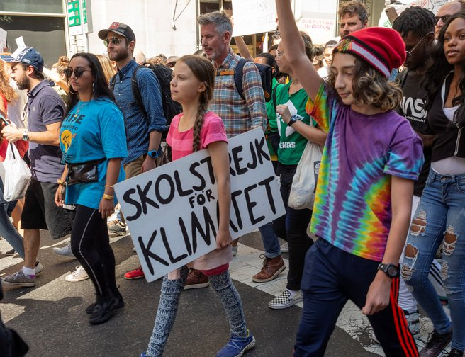Greta Thunberg and protesters march during NYC Climate Strike rally, 20 September 2019