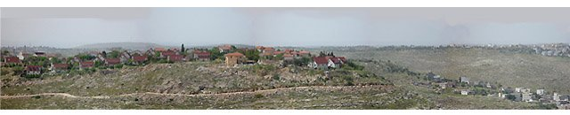 The settlement of Nili (left) and the Palestinian village of Shabtin. Eyal Weizman, 2002