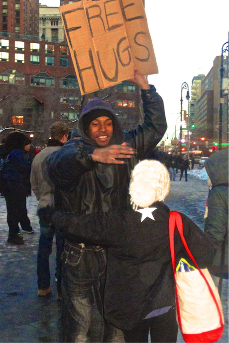 """Free hugs have replaced free therapy on Union square."""