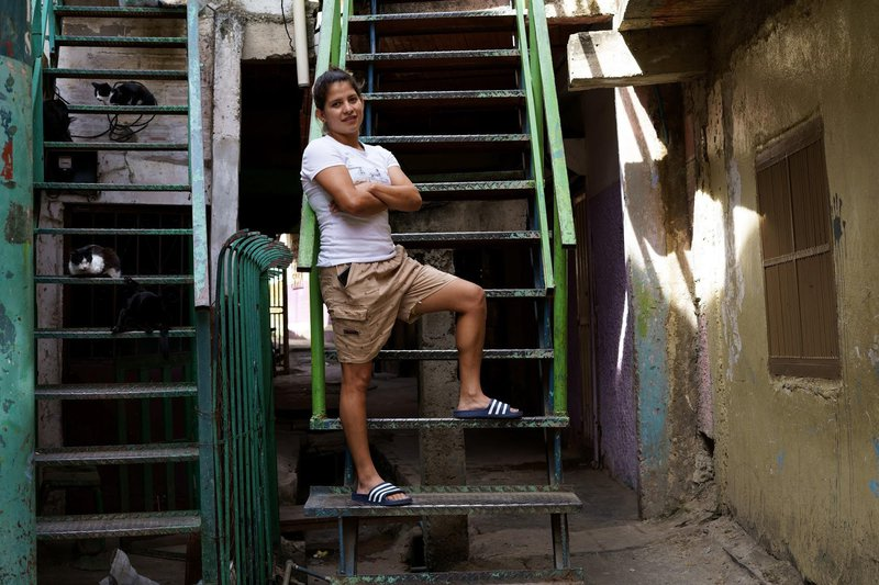 Three-times national champion María Gabriela Valecillos poses outside the rented house in Caracas after finishing her COVID-19 quarantine, 10 March 2021. Photo: Yadira Pérez