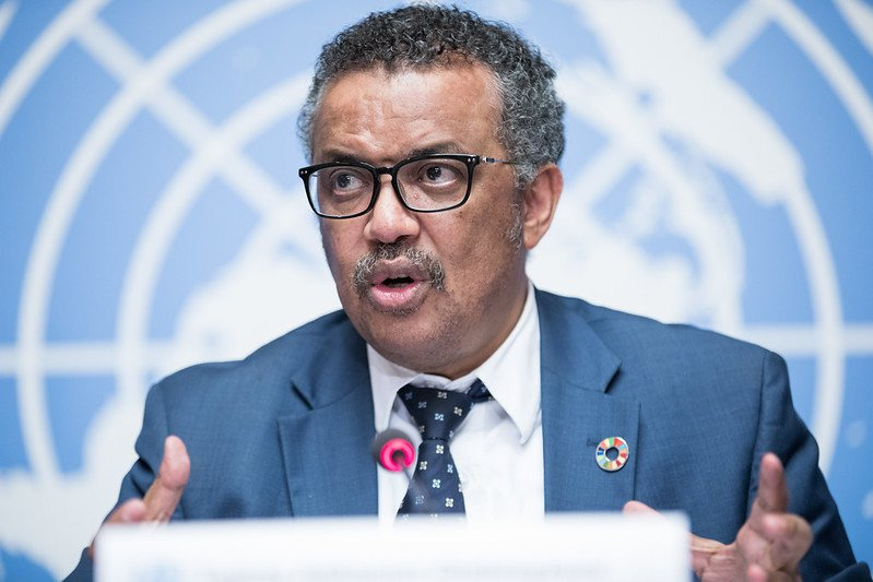 Tedros Adhanom Ghebreyesus, Director-General, World Health Organisation (WHO) speaks at a press conference at the UN Office in Geneva, Palais des Nations. 18 May 2018