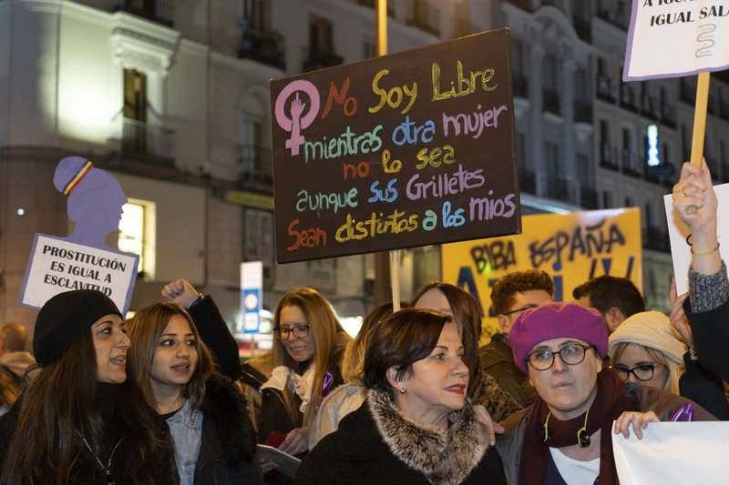 Women's protest against the far-right Vox party, Madrid, January 2019.
