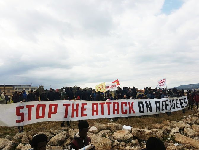 People protest in Sicily against attacks on organisations rescuing migrants and refugees from the sea, January 2018.