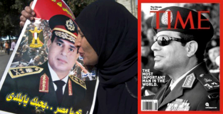 Woman kisses poster of Sisi. Next to Sisi on front cover of Time magazine.