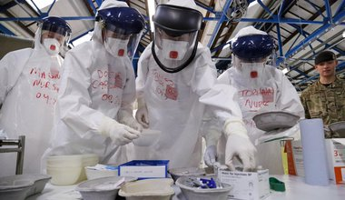 NHS doctors and nurses practise their medical skills at the Army's Ebola training facility, near York, 2014