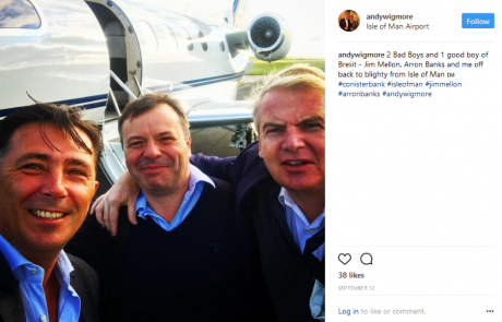 Jim Mellon (right) with Arron Banks (centre) and Andy Wigmore (left).