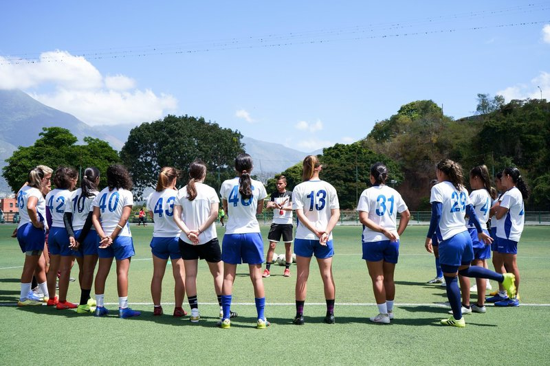 Atlético SC in a training session in Caracas before winning the local championship and a place in the Copa Libertadores, 2 February 2021. Photo: Yadira Pérez