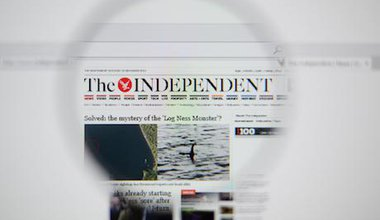 A screen grab of The Independent's homepage from 2014.