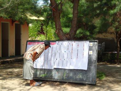 An Indonesian citizen reviews a list of parliamentary candidates