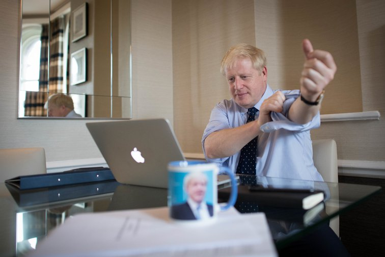 Boris Johnson preparing for his speech to Conservative Party Conference 2019