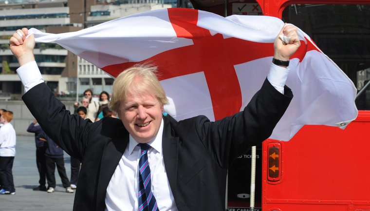 Boris Johnson holding an England flag