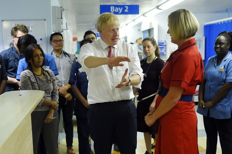 Boris Johnson visiting Watford General Hospital following his funding announcement