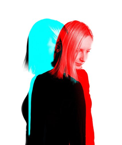 Blue and red person.