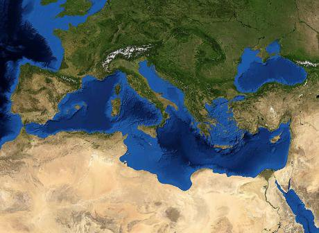 The Mediterranean Sea. Screenshot from NASA World Wind
