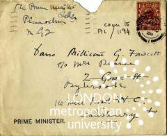 Letter from Prime Minister Stanley Baldwin addressed to Millcent Fawcett