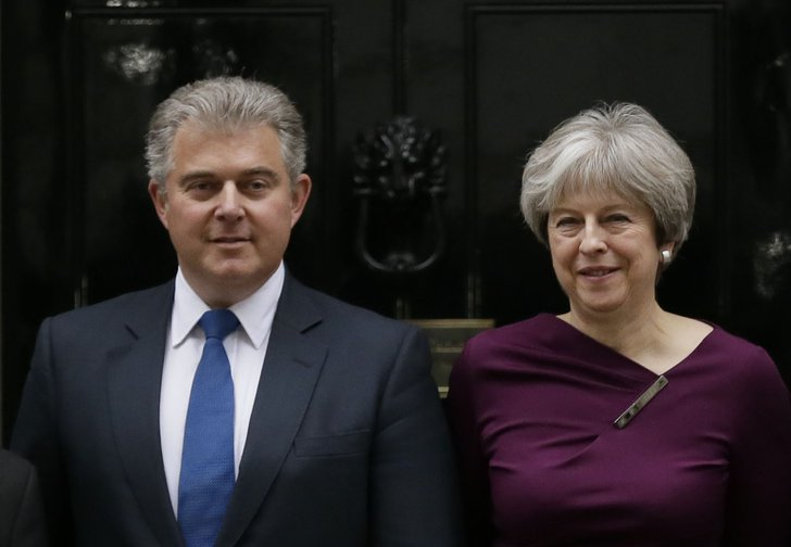 Conservative Party Chairman Brandon Lewis pictured with Theresa May, January 2018